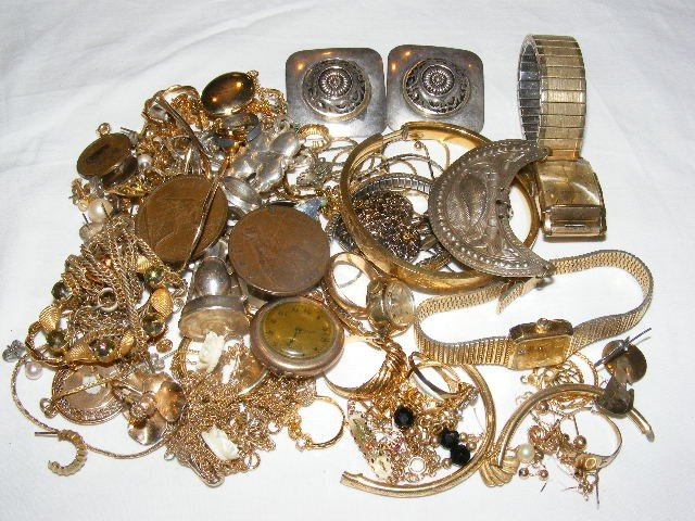 54: Jewelry parts lot, small pieces, bangles, earrings,