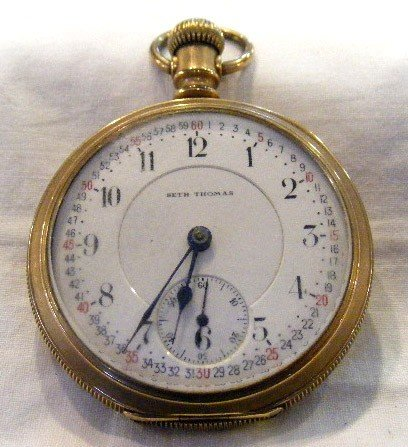 55: Seth Thomas pocket watch, engraved case, Fahys Mant