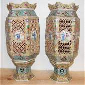 101: Pair of Chinese pottery lamps, reticulated design,