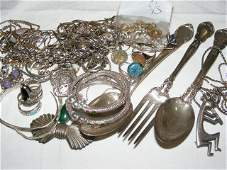 190 Sterling silver jewelry 2 spoons  fork scrap
