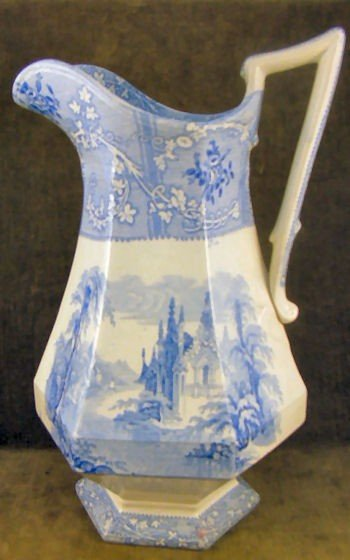 1: Davenport Ironstone blue transferware water pitcher,