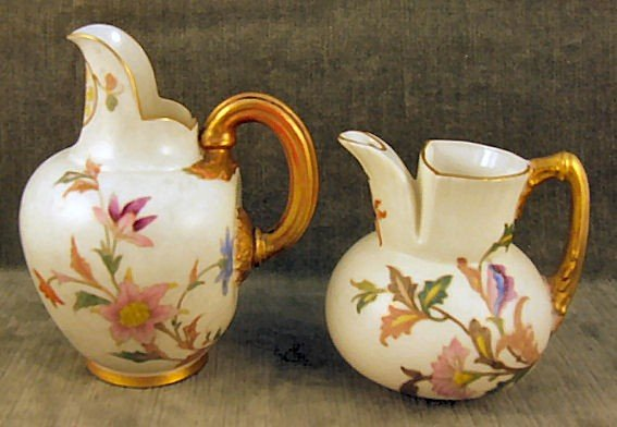 "4: 2 Royal Worcester pitchers, 5"" tall flat back pitche"