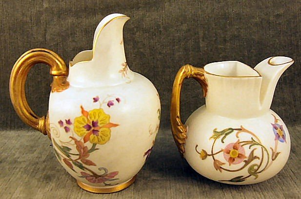 """4: 2 Royal Worcester pitchers, 5"""" tall flat back pitche - 2"""
