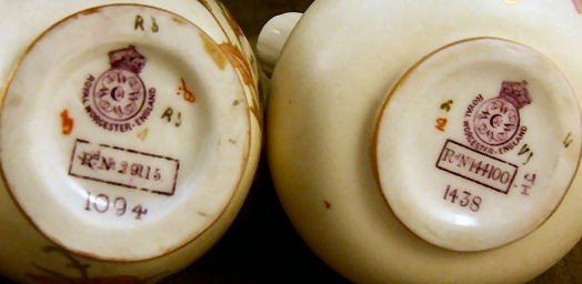 """4: 2 Royal Worcester pitchers, 5"""" tall flat back pitche - 3"""