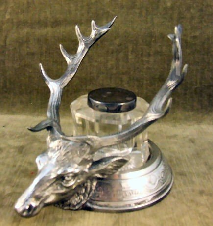 12: Reed & Barton silver plated inkwell, figural elk he