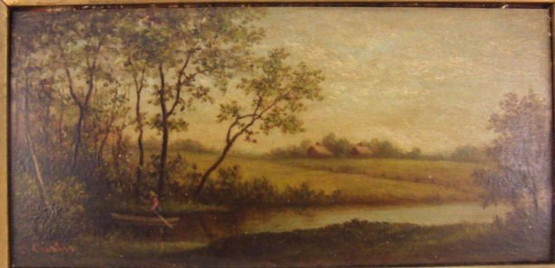14: Calvin Curtis oil on board, landscape with farm in  - 2