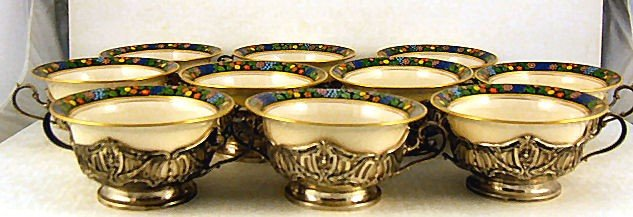 16: Set of 10 Lenox bouillon cups with ornate sterling