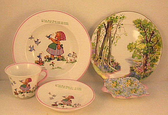 "22: Lot of Shelley china, Childs trio, Woodland 8"" plat"