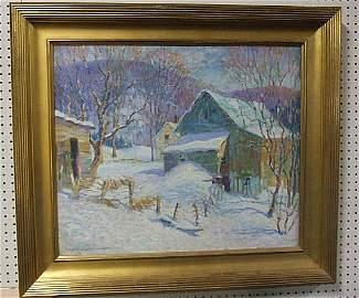 """77: H. Boyleston Dummer oil painting on canvas, 25"""" X 3"""