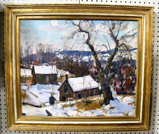 208: Carl Peters oil painting on canvas, winter scene,