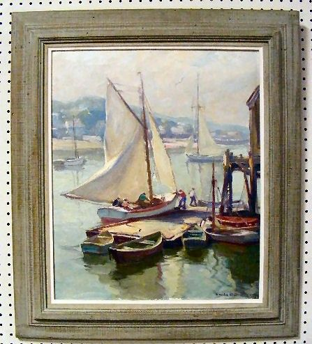 """181: Emile Gruppe oil painting on canvas, """"Drying the S"""