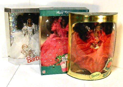 2: 3 Barbie Happy Holidays edition dolls, mint in box,