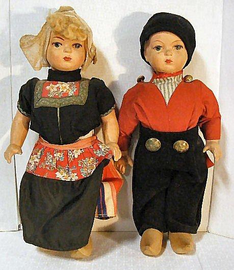 7: Vintage Dutch Boy & Girl walking dolls, wood shoes,