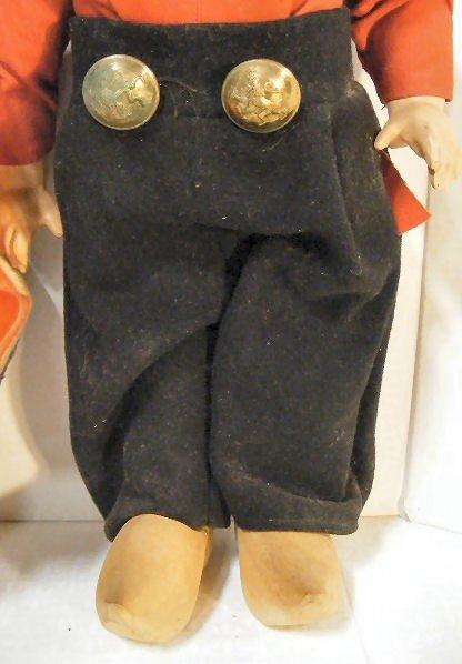 7: Vintage Dutch Boy & Girl walking dolls, wood shoes,  - 3