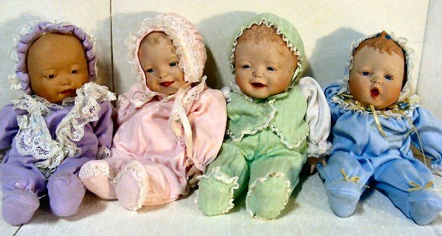"9: 4 Yolanda Bello 12"" baby dolls, porcelain head, hand"