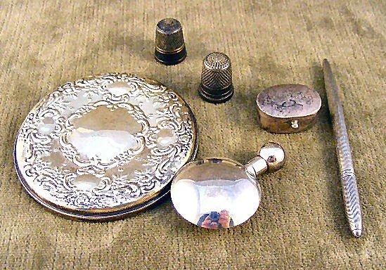 """21: Sterling silver lot, Towle 3.25"""" purse mirror, Leno"""