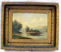 61 Oil painting on board signed DA Fisher lake scen