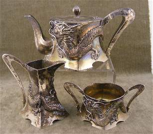 173: Luen Wo Chinese sterling silver teaset with highly