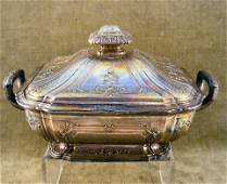 175: Heavy French silver covered serving bowl, measures