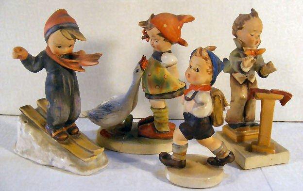 5: Lot of 4 US Zone & Crown Mark Hummel figurines damag