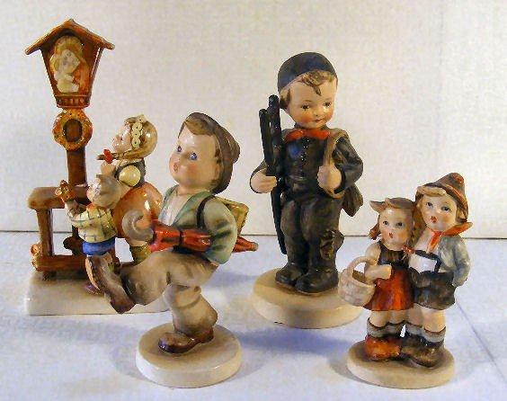 6: Lot of 4 Crown Mark era Hummel figurines, 2 damaged,