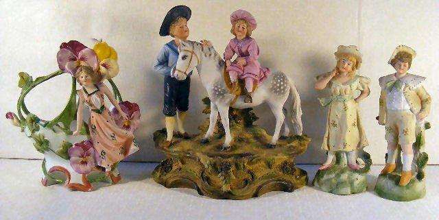9: Lot of 5 German bisque porcelain figurines, no maker