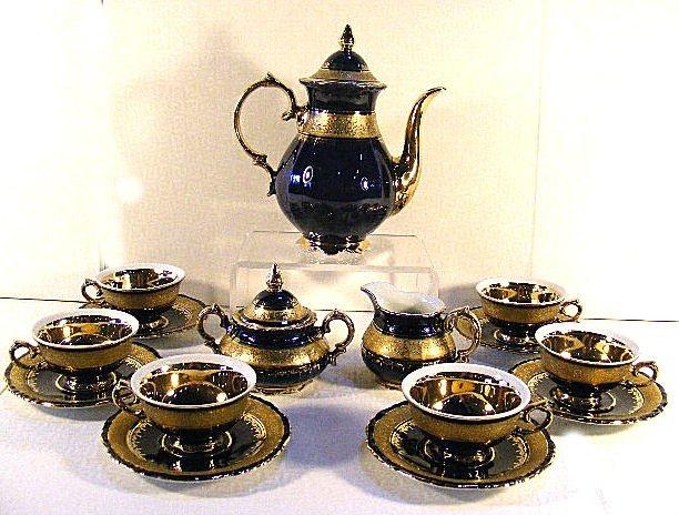12: KPM Royal Porcelain German cobalt blue teaset, 6 cu