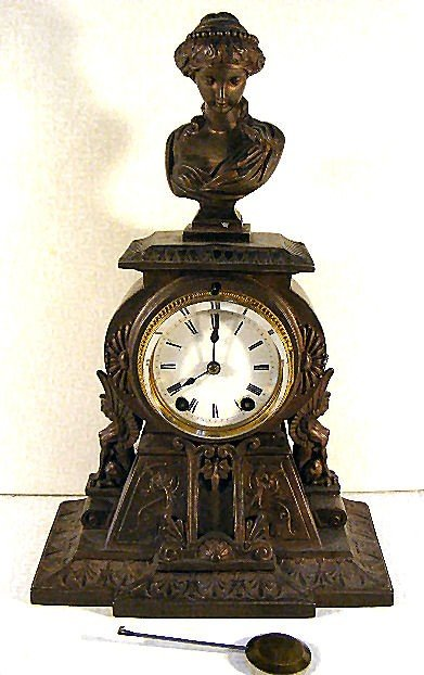 22: Seth Thomas mantle clock with Egyptian revival spel
