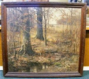 132: Large John Elwood Bundy oil painting on canvas, 36