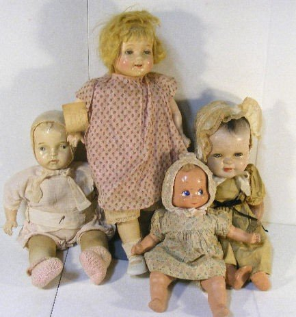 """4A: 4 composition dolls, 18"""" baby with flaking finish,"""