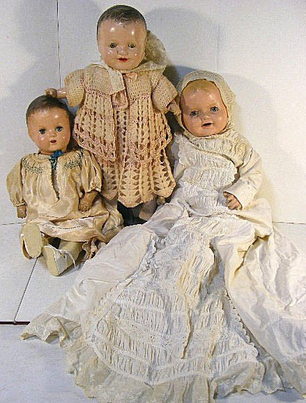 """6A: 3 composition baby dolls, 26"""", 22"""" &21"""". Largest in"""