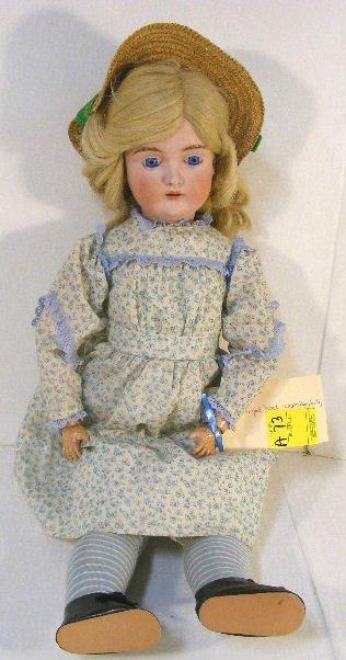 "9A: Kestner bisque head doll, Daisy #171, 24"", blue fix"