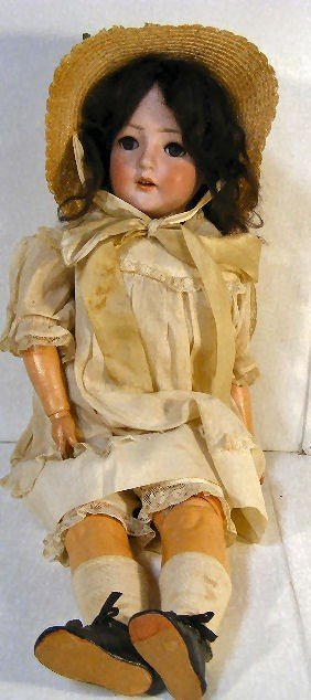 11A: Revalo German bisque head doll with compo body, wo