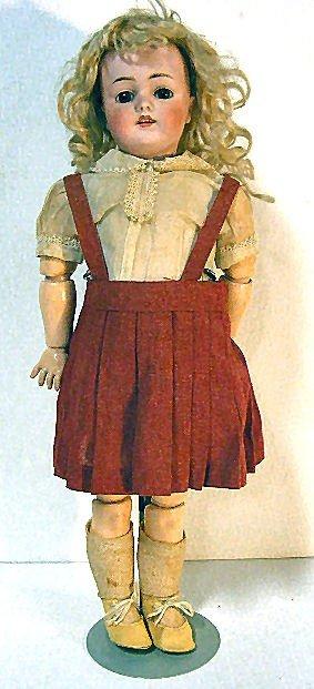 """12A: 19"""" Kestner bisque head doll # 168, composition bo"""
