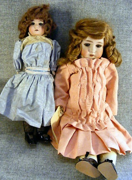 """13A: A.M. bisque head doll Queen Louise, 23"""" compo body"""