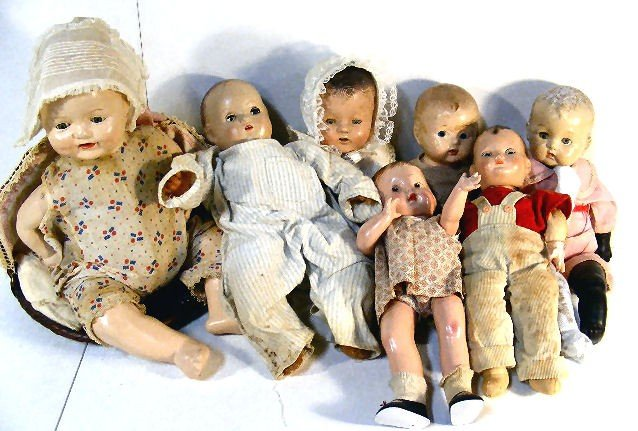 """15A: Lot of 7 misc. composition dolls, 18"""" EIH baby in"""