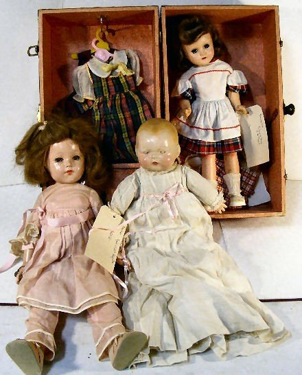 """16A: Lot of 3 dolls, Horsman Tynie 14"""" back of head cra"""
