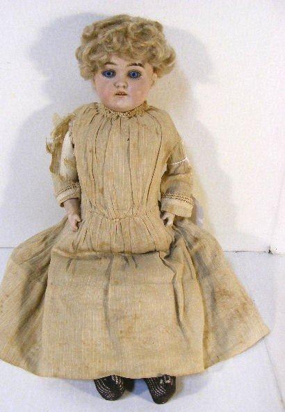 "19F: 16"" German bisque shoulder head doll with set blue"