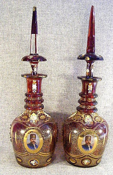 67E: Pair of large Bohemian ruby flash decanters with P