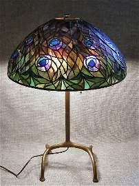170B: Scarce Tiffany Studios Peacock Lamp,