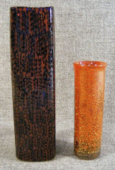 """24B: Isle of Wight glass vase, 5.25"""" high with label &"""