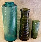 185G: 3 modern art glass vases. Smaller green one has V