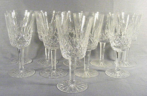 """1Q: 10 Waterford Lismore pattern goblets, 7"""" high, 3.25"""