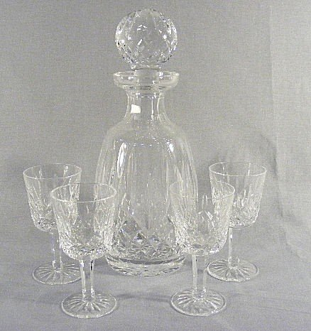 2Q: Waterford Lismore decanter and 4 glasses. Decanter