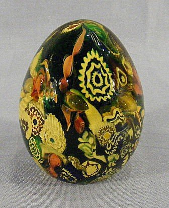 8Q: Murano paperweight with cane decoration, sticker on