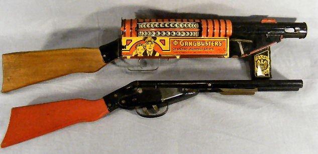 "10Q: Louis Marx tin ""Gangbusters"" toy machine gun, very"