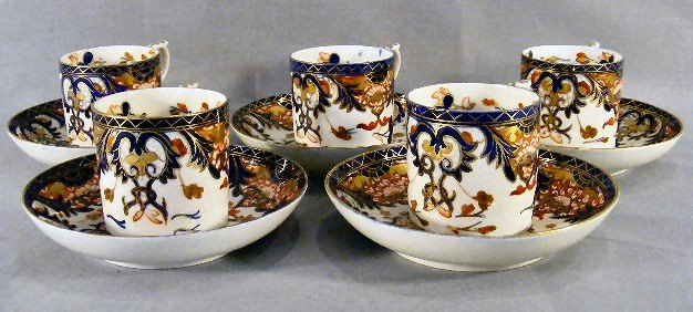 12B: 5 early Derby Imari pattern porcelain cups with sa