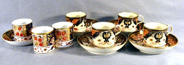 13B: Lot of Imari pattern porcelain cups with saucers,