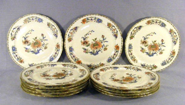 """15B: 12 Raynaud Limoges Vieux Chine 9.5"""" plates, 10 are"""
