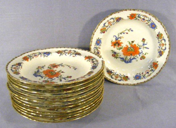 """16B: 12 Raynaud Limoges Vieux Chine 9"""" soup bowls, 11 a"""